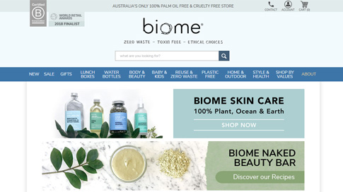 Biome e-commerce website